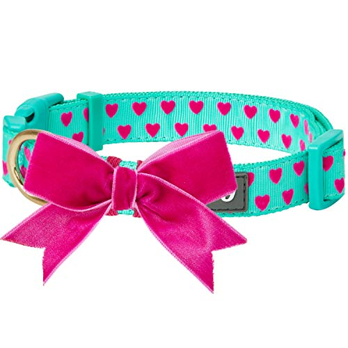 "Blueberry Pet 2019 New Spring Heart Flocking Dog Collar in Minty Green with Detachable Velvety Bowtie, Medium, Neck 14.5""-20"", Adjustable Collars for Dogs"