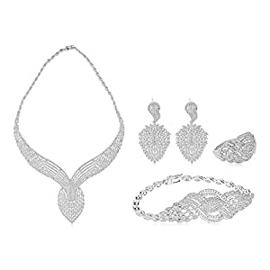 Lassein White Gold Plated Jewellery Set - 4 Pieces