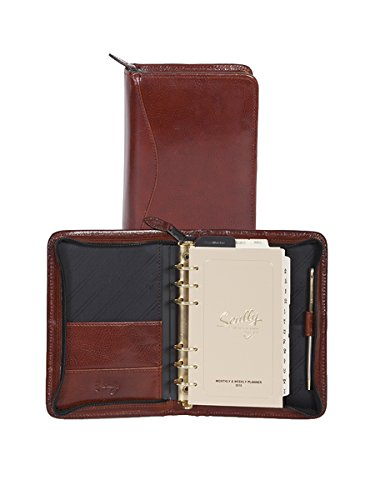 Scully Italian Leather 6-Ring Zip Weekly Organizer - Mahogany Scully Zip