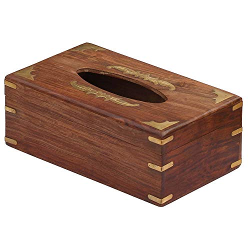 Benzara BM123982 Wooden Tissue Box Cover With Decorative Brass Work, Brown