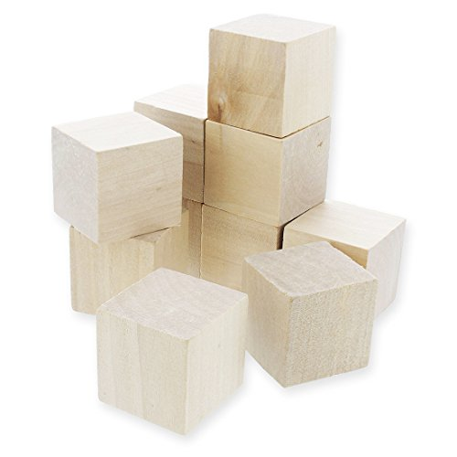 Wooden Cubes - 10-Piece Large Solid Wood Square Blocks - Natural Unfinished Blank Wood Cubes for Math, Puzzle Making, DIY Crafts Projects - 1.5 x 1.5 x 1.5 Inches (Square Blocks Wood)