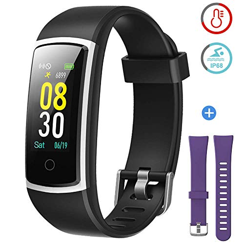 YAMAY Fitness Tracker with Blood Pressure Monitor Heart Rate Monitor,IP68 Waterproof Activity Tracker 14 Mode Smart Watch with Step Counter Sleep Tracker,Fitness Watch for Women Men (V_Black+Purple)