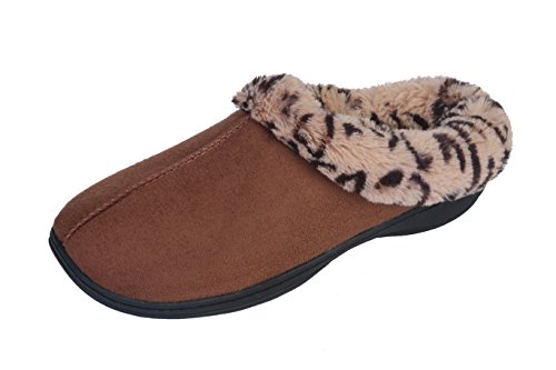 Joan Vass Woman's New Faux Suede, Leopard Fur Lined Clogs, in 3 Pretty Colors (7.5-8.5 B(M) US, Camel) -