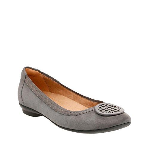 Clarks Women Candra Blush Sandali Con Lacci In Pelle A Punta Chiusa Grigio Camoscio Capra