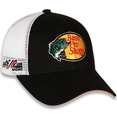 Pro Trucker Hat - Checkered Flag Martin Truex Jr 2019 Bass Pro Shops Draft Mesh #19 NASCAR Hat Black, White