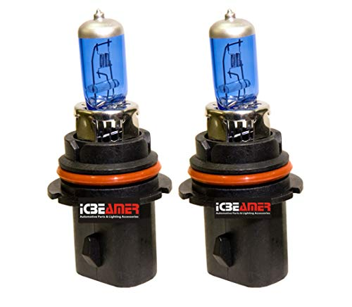 ICBEAMER 1 Pair 9007 HB5 12V 100W Direct Replace for Auto Vehicle Factory Halogen Light Bulbs [Color: Super White]