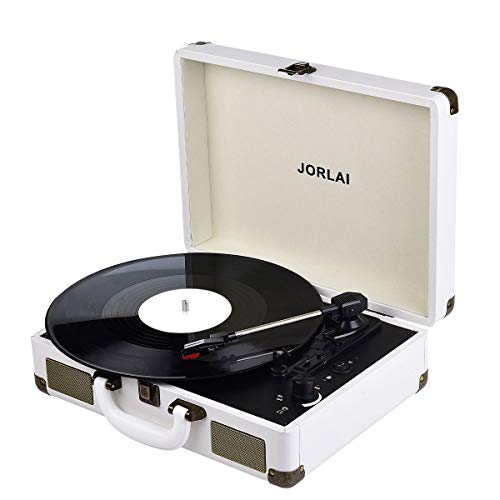 Record Player, JORLAI Vintage Turntable 3-Speed Vinyl Record Player with Speakers/ Rechargable Battery/ Vinyl-to-MP3 Recording/ Headphone Jack/ Aux Input/ RCA Line Out C White