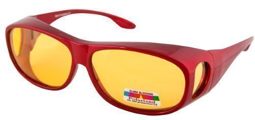 3bc12155f9 OPTICAID NIGHT SIGHT NIGHT DRIVING SPORTS OVER GLASSES DESIGNED TO BE WORN OVER  PRESCRIPTION GLASSES METALLIC RED FRAME  Amazon.co.uk  Clothing