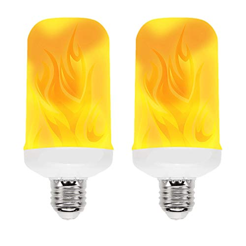 HOLDCY LED Flame Effect Light Bulb,E26 Standard Base - with Gravity Induced and 4 Lighting Modes 7 Watts 2835 LED Beads - Flame Bulb for Home Decoration/Bar/Party/Appointment Gifts (Pack of 2)]()