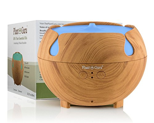 Essential Oil Diffuser Ultrasonic Cool Mist Humidifier Light Wood Grain 600 ml. Large Capacity Auto Shut off and 7 Color LED Lights Great For Home, Bedroom, Baby Room, Bathroom & - Diffuser Classroom