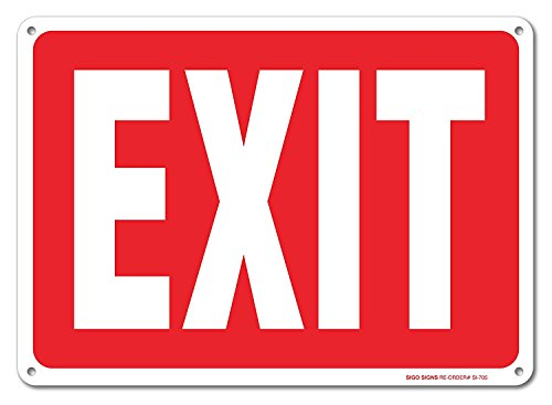 Exit Sign, 10x14 Rust Free .40 Aluminum UV Printed, Easy to Mount Weather Resistant Long Lasting Ink Made in USA by SIGO SIGNS