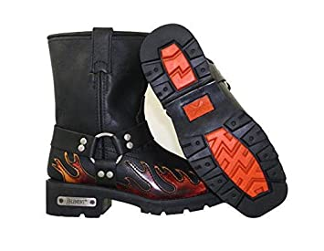 Xelement 2490 Womens Black Harness Motorcycle Boots with Flame 7.5