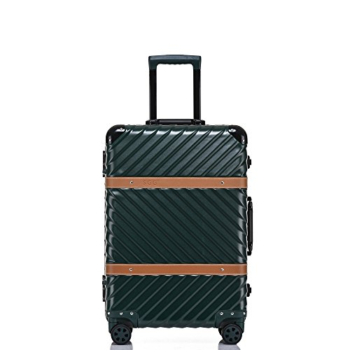 Aluminum Frame Carry on, Clothink Hardside Luggage with Detachable Spinner Wheels 20 Inch Dark Green