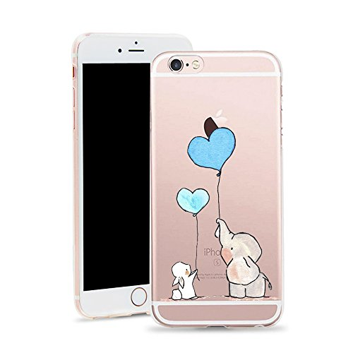 Bunny Skin Case - iPhone 6 Case,iPhone 6S Case, HUIYCUU Slim Fit Soft TPU Cover Amusing Cute Animal Design Protective Clear Thin Skin Gift Novelty Funny Pattern Bumper Back Case for iPhone 6 6S 4.7