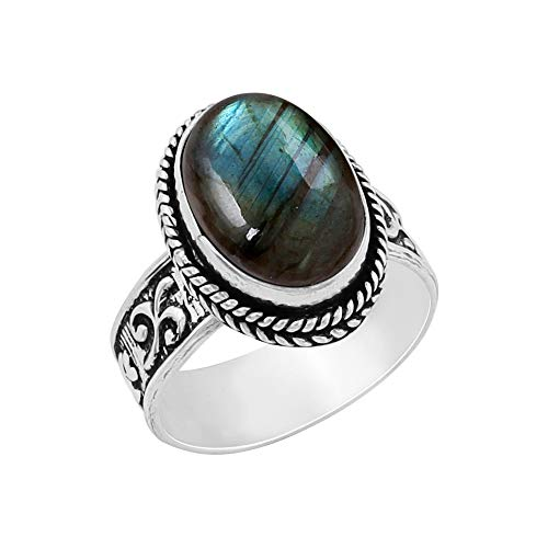 Genuine Oval Shape Labradorite Solitaire Ring 925 Silver Plated Vintage Style Handmade for Women Girls (Size-10)