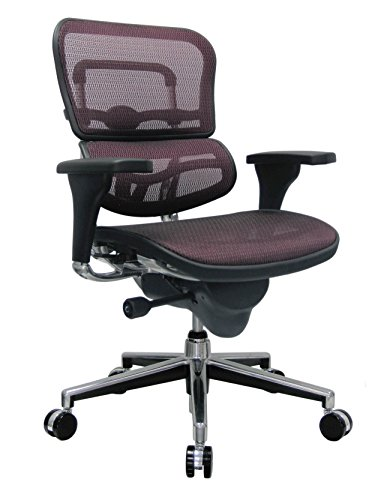 Eurotech Seating Ergohuman ME8ERGLO-RED(N) Mid Back Mesh Swivel Chair, Plum Red