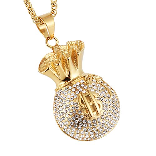 HZMAN Gold Plated Dollar Sign Stainless Steel Purse Pendant Necklace Success and Protection Lucky