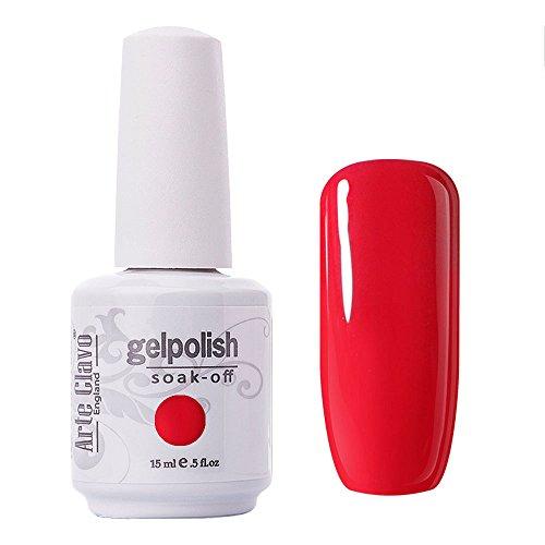 Arte Clavo Vermeil Red Nail Gel Polish Harmless Resin Professional Lacquer Soak Off Nail Art UV Lamp & LED 15ml