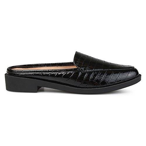 Brinley Co. Womens Jem Faux Patent Square Toe Comfort-Sole Croc Pattern Slide Mules Black, 6.5 Regular US