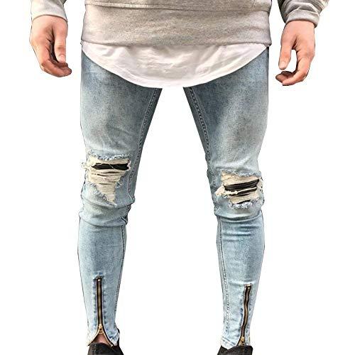 Da Denim Motociclista Ragazzi Pantaloni Sottile Blau Casual Foro Distrutti Chiusura Classiche Con Strappati Skinny Jeans Uomo S15qRwT