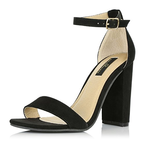 DailyShoes Women's Chunky Stacked Heel Sandal Open Toe Classic Wedding Pumps with Buckle Ankle Strap Casual Sandals Shoes, Black Suede, 9 B(M) US (Chunky Womens Ankle Heel Strap)