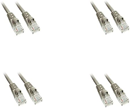 Snagless//Molded Boot 4 Feet Gray 2 Pack Cat5e Ethernet Patch Cable CNE487606