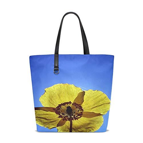 (KUneh Women Yellow Poppy Garden Summer Blossom Bloom Handle Satchel Handbags Shoulder Bag Tote Purse Messenger Bags)