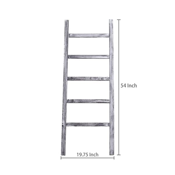 MyGift 4.5-Foot Weathered Wood Decorative Blanket Storage Ladder