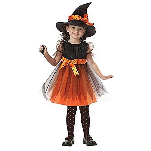 Hexenkostüm für Kinder Halloween Weihnachten Kostüm Mädchen Hexenkleid und Hut Orange 86-92