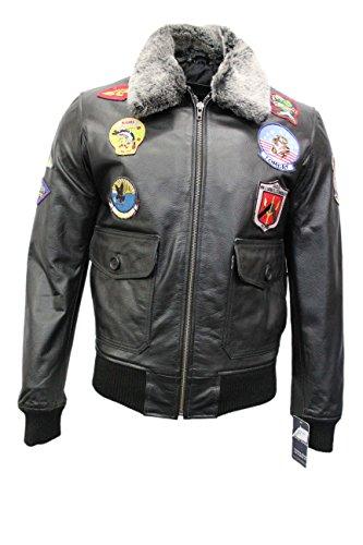 TOP GUN BLACK' Hommes Bombardier Jet Fighter Marine Air Force Pilot Veste en cuir