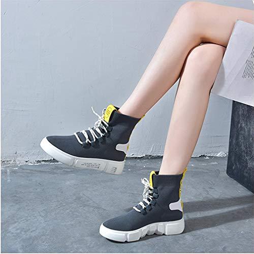 Calze Scarpe High Sneakers Spring top Donna Moda Yan Knit Da Dance Piattaforma Street Grigio Elastiche Fall Sx8wRU