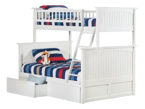 Cheap Nantucket Bunk Bed with 2 Flat Panel Bed Drawers
