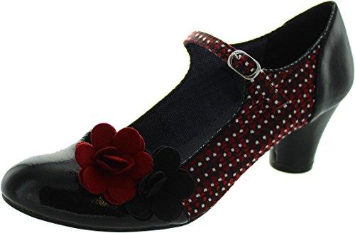 Rubino Shoo Womens Mid Heel Mary Jane Pumps Nero