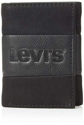 Levi's Men's Genuine Leather Trifold - Big Skinny Wallet with RFID Security for Credit Cards with 2 ID Windows, Black Casual, One sizee