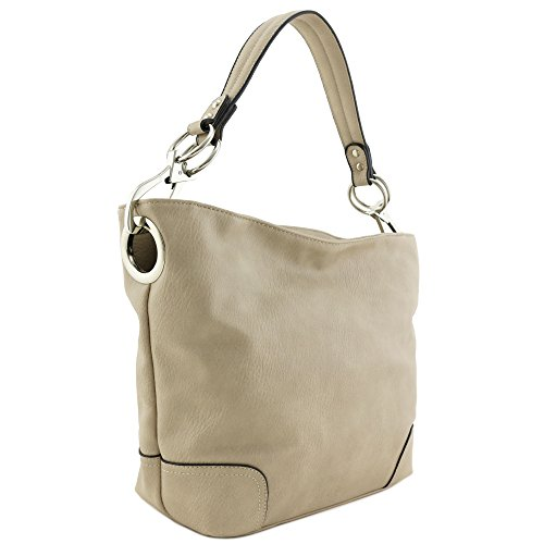 (Hobo Shoulder Bag with Big Snap Hook Hardware (Taupe))