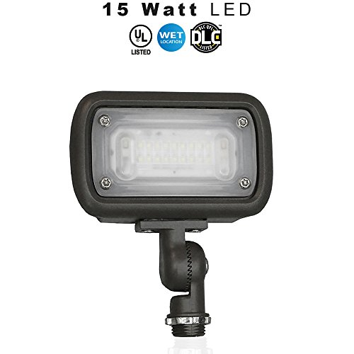 Cheap LED Outdoor Landscape Light, 15 Watt Wide Flood (100W Equivalent), 1500 Lumens, 5000K (daylight), IP65 Waterproof, 120-277v, UL & DLC – Knuckle Mount – 5 Year Warranty (15 Watt 1 Pack)