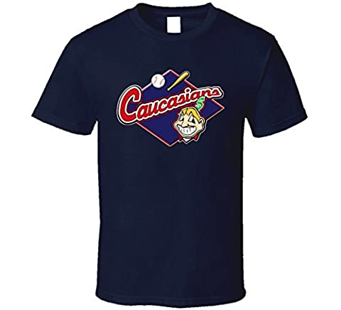 T-Shirt Bandit Cleveland Caucasians Native American Baseball Funny T Shirt M Navy (Native American Funny)