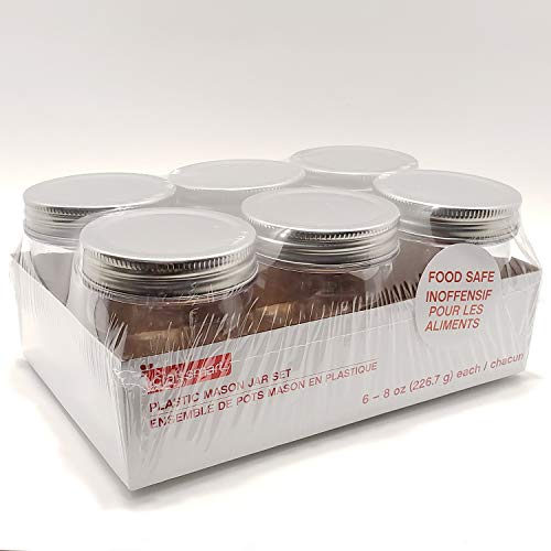 Plastic Mason Jars 8oz 6pc Perfect for DIY Projects Paints Vase Organizing Food Safe and More ()
