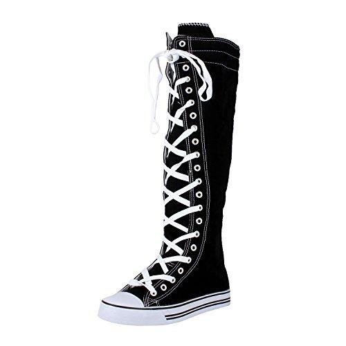 5801efd091737c DW West Blvd Sneaker Boots Black White Canvas