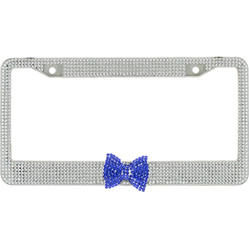 - Clear Crystal Diamond Rhinestone Chrome Metal License Plate Frame License Plate Frame With Blue Crystal Bow Tie In the Middle With Crystal Screw Caps