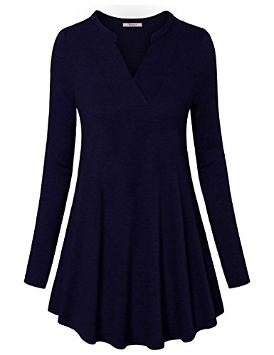 - Bebonnie Loose Tunic Dress, Women's Comfy Swing Tunics Long Sleeve V Neck Vintage Print T-Shirt Dressy Blouse Navy XL