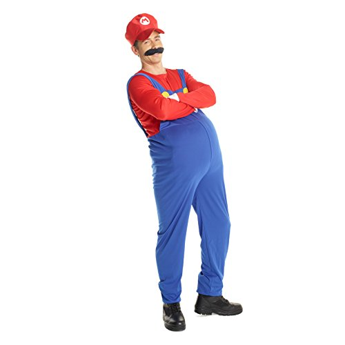 (Adult Super Mario Costume, 80's Plumber Gaming Outfit Size Plus 46-48