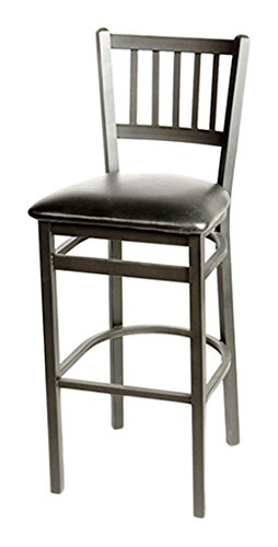 Oak Street SL2090-1-ESP  Metal Frame Vertical Back Bar Stool with Espresso Vinyl Seat, 43
