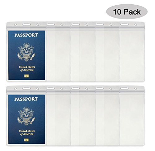 10PCS Passport Holder 4x6 Inch Extra Large ID Badge Holders PVC Card Holder Fill for Passports,Cash, Credit Card, Plane Ticket, Receipts.By - Credit Standard Dimensions Card