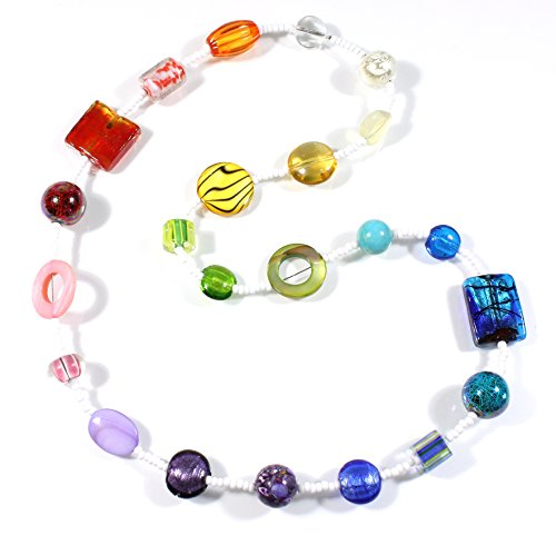 Style-ARThouse My Beautiful Rainbow Colorful Necklace with Special Beads, 25 Inches