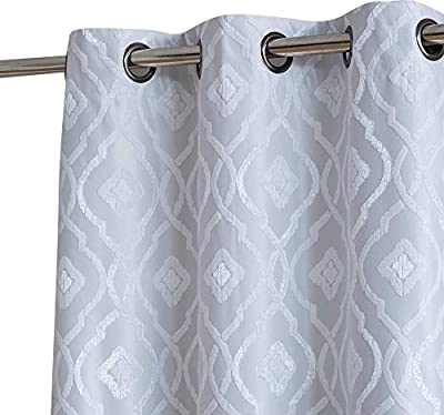 HLC.ME Trellis Flocked 100% Blackout Thermal Window Curtain Grommet Panels - Energy Efficient, Complete Darkness, Noise Reducing - Great for Living Rooms & Bedrooms - Set of 2