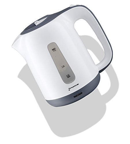GForce Electric Kettle Water Heater 1.7 Liter - 900W Rapid Boil Technology, Tea/Coffee Pot - 360 degree Cordless Swivel Base, BPA-Free with Auto Shut-Off and Boil-Dry Protection - White-Gforce Hervidora electrica inalambrica de acero inoxidable