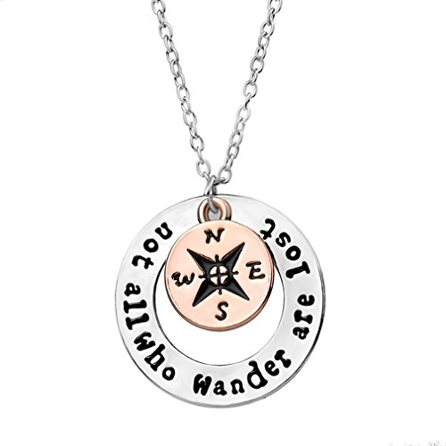 "Meolin ""Not All Who Wander Are Lost '' Compass Necklace Find Your Way,x10046,52cm"
