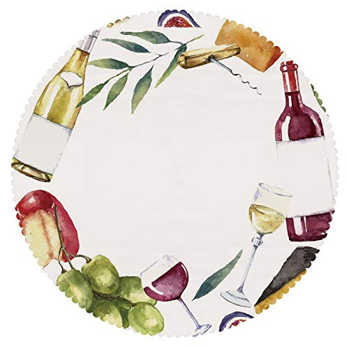 - Round Tablecloth [ Wine,Round Frame with Hand Painted Food Objects Watercolor Wine Cheese Fruits Collection Decorative,Multicolor ] Tablecloth Design