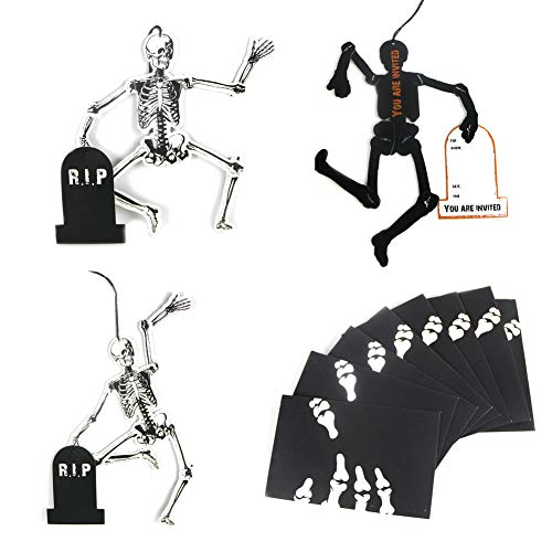 Mini Skeleton Halloween Invitation Cards with Envelopes Greeting Card Halloween Party Desk Decorations Birthday Set of 8, Easy Joy